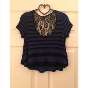Guess Striped Crop Top with Lace Back
